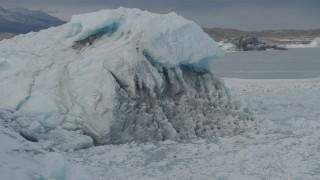 AK0001_0946 - 4K stock footage aerial video fly by glacial ice of the Tazlina Glacier, Alaska