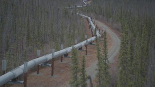 AK0001_0987 - 4K stock footage aerial video fly low over pipeline through forest, during winter, Trans-Alaska Pipeline, Alaska