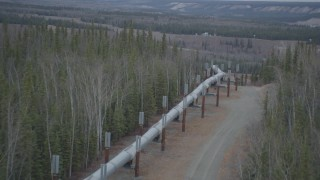 AK0001_0988 - 4K stock footage aerial video follow pipeline down hill through forest, during winter, Trans-Alaska Pipeline, Alaska
