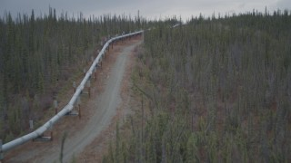 AK0001_0993 - 4K stock footage aerial video approach, follow pipeline through forest, winter, Trans-Alaska Pipeline, Alaska