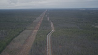 AK0001_0994 - 4K stock footage aerial video follow pipeline through forest, during winter, Trans-Alaska Pipeline, Alaska