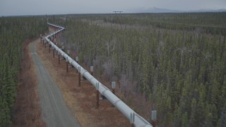 AK0001_0997 - 4K stock footage aerial video reverse view of the pipeline through forest, during winter, Trans-Alaska Pipeline, Alaska