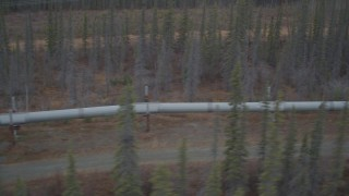 AK0001_0999 - 4K stock footage aerial video flying along pipeline through forest, winter, Trans-Alaska Pipeline, Alaska