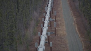 AK0001_1003 - 4K stock footage aerial video flying over the Trans-Alaska Pipeline, Alaska in winter