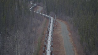 AK0001_1005 - 4K stock footage aerial video following pipeline through forest during winter, Trans-Alaska Pipeline, Alaska