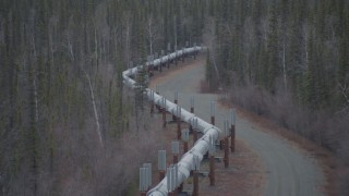 AK0001_1006 - 4K stock footage aerial video fly over pipeline and forest, winter, Trans-Alaska Pipeline, Alaska
