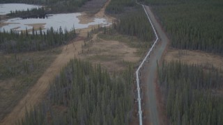 AK0001_1007 - 4K stock footage aerial video follow pipeline through forest, during winter, Trans-Alaska Pipeline, Alaska