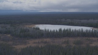 AK0001_1012 - 4K stock footage aerial video flying over forest revealing a lake, Gulkana, Alaska