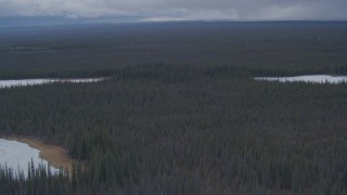 AK0001_1014 - 4K stock footage aerial video flying past snow covered lakes in the forest in the Alaskan Wilderness