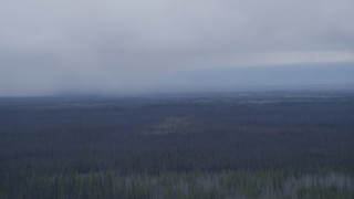 AK0001_1022 - 4K stock footage aerial video flying away from rain clouds over forest, Alaskan Wilderness