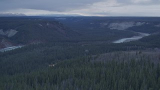 AK0001_1023 - 4K stock footage aerial video flying over forest revealing Tazlina River Valley, Alaska