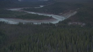 AK0001_1025 - 4K stock footage aerial video flying over the Tazlina River and evergreen forest, Alaska