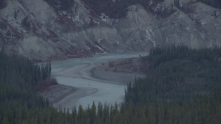AK0001_1026 - 4K stock footage aerial video the Tazlina River winding past forest, Alaska