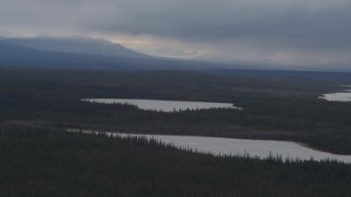 AK0001_1030 - 4K stock footage aerial video small, snow covered lakes in the woods, Alaskan Wilderness