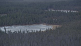 AK0001_1035 - 4K stock footage aerial video flying past small ponds in the woods, Alaskan Wilderness