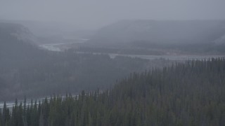 AK0001_1036 - 4K stock footage aerial video flying toward a canyon, revealing Tazlina River, Alaska