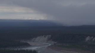 AK0001_1041 - 4K stock footage aerial video flying over forest near a canyon and the Tazlina River, Alaska