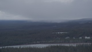 AK0001_1043 - 4K stock footage aerial video evergreen forest around the Tazlina River, Alaska near rain clouds