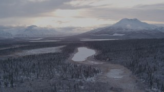 AK0001_1053 - 4K stock footage aerial video flying over snow covered forest toward Long Lake, Alaska
