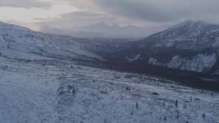 AK0001_1063 - 4K stock footage aerial video flying over snowy slopes, Talkeetna Mountains, Alaska
