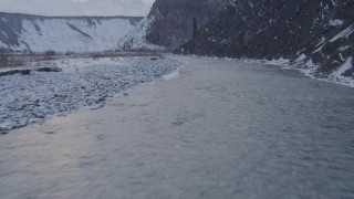 AK0001_1079 - 4K stock footage aerial video following the Matanuska River in winter in the Matanuska River Valley, Alaska