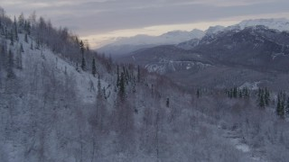 AK0001_1098 - 4K stock footage aerial video flying over snow covered, wooded hills revealing Matanuska River Valley, Alaska