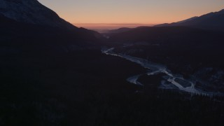 AK0001_1109 - 4K stock footage aerial video flying over the snow covered Matanuska River Valley at sunset, Alaska