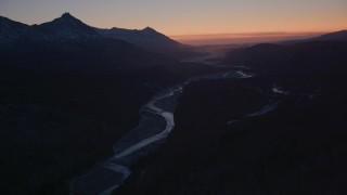 AK0001_1114 - 4K stock footage aerial video flying over the snow covered Matanuska River Valley at sunset, Alaska
