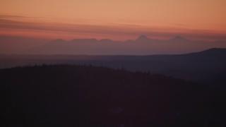 AK0001_1116 - 4K stock footage aerial video the Talkeetna Mountains at sunset in snow, Matanuska River Valley, Alaska