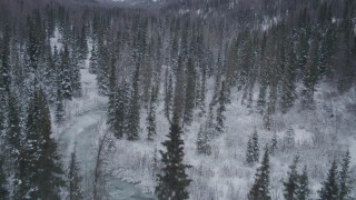 AK0001_1193 - 4K stock footage aerial video flying over snowy, wooded valley revealing river, Chugach Mountains, Alaska
