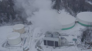 AK0001_1322 - 4K stock footage aerial video a snow covered power plant, Anchorage, Alaska