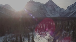 AK0001_1362 - 4K stock footage aerial video speeding over snowy ground, ascend forest toward Chugach Mountains, Alaska