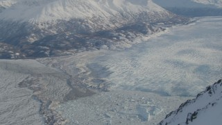 AK0001_1380 - 4K stock footage aerial video Knik River Valley, Knik Glacier, Chugach Mountains, Alaska in snow