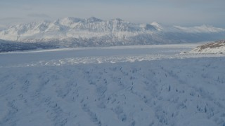 AK0001_1405 - 4K stock footage aerial video the snow covered Knik Glacier and Chugach Mountains, Alaska