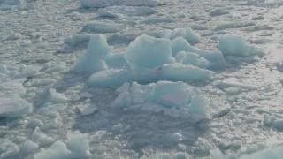 AK0001_1442 - 4K stock footage aerial video glacial ice on Inner Lake George, Alaska in winter