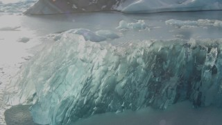 AK0001_1461 - 4K stock footage aerial video flyby blue glacial ice on Inner Lake George, Alaska in snow