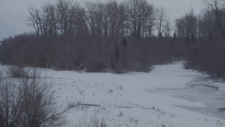 AK0001_1581 - 4K aerial stock footage video flying over a cluster of trees, revealing snow covered Knik River Valley, Alaska