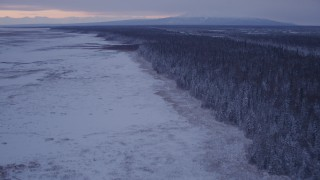 AK0001_1694 - 4K stock footage aerial video flying over frozen, snowy ground beside forest at twilight, Point MacKenzie, Alaska