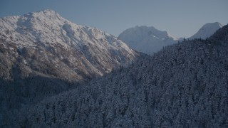 AK0001_1761 - Aerial stock footage of 4K aerial  video rounding snowy, wooded peak, reveal double peak, Chugach Mountains, Alaska