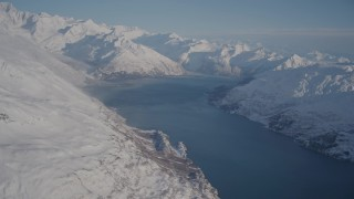 AK0001_1783 - 4K stock footage aerial video flyby snow covered Chugach Mountains and Harriman Fjord, Alaska