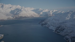 AK0001_1785 - 4K stock footage aerial video Harriman Fjord bordered by snow covered Chugach Mountains, Alaska