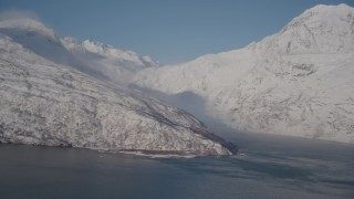 AK0001_1787 - 4K stock footage aerial video Surprise Inlet, snowy glacier, Chugach Mountains, Harriman Fjord, Alaska