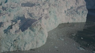 AK0001_1810 - 4K stock footage aerial video the rough edge of a snow covered glacier on the Harriman Fjord, Alaska