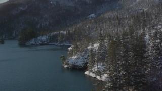 AK0001_1834 - 4K stock footage aerial video flying along snowy, wooded shore, Port Wells, Alaska