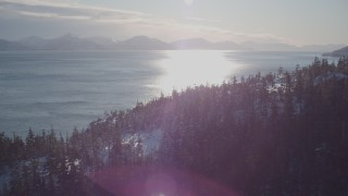 AK0001_1837 - 4K stock footage aerial video fly over snowy, wooded shore, sun reflecting off water, Port Wells, Alaska