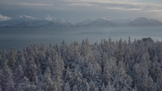AK0001_1843 - 4K stock footage aerial video the snow covered Chugach Mountains across Port Wells, Alaska