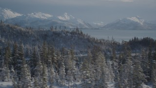 AK0001_1848 - 4K stock footage aerial video flying over snowy, wooded hills along shore of Port Wells, Alaska