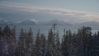 AK0001_1850 - 4K stock footage aerial video fly over snowy, wooded shore revealing Chugach Mountains, Port Wells, Alaska