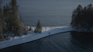 AK0001_1861 - 4K stock footage aerial video descend to snow covered peninsula, pan to forest, Port Wells, Alaska