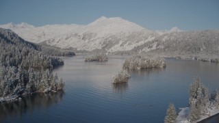 AK0001_1880 - 4K stock footage aerial video flying over snowy, wooded shore revealing Hummer Bay, Port Wells, Alaska